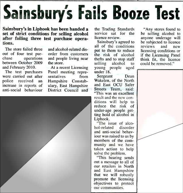 Sainsburys alcohol licence suspended
